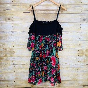Twenty One Cold Shoulder Dress Floral Black Large